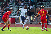 3rd September 2021; Newport, Wales:  Zak Sturage of England attacks during the U18 International Friendly match between Wales and England at Newport Stadium in Newport, Wales.