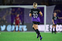 ORLANDO, FL - SEPTEMBER 11: Parker Roberts #20 of the Orlando Pride runs on the pitch to make her NWSL debut during a game between Racing Louisville FC and Orlando Pride at Exploria Stadium on September 11, 2021 in Orlando, Florida.