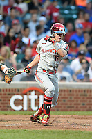 Seth Beer (12) of Lambert High School in Suwanee, Georgia during the Under Armour All-American Game on August 16, 2014 at Wrigley Field in Chicago, Illinois.  (Mike Janes/Four Seam Images)