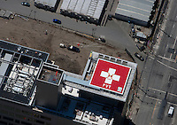 Aerial photograph helipad at UCSF Benioff Children's Hospital, Mission Bay San Francisco California