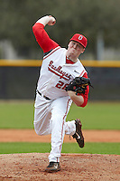Ohio State Buckeyes pitcher Brett McKinney #28 delivers a pitch during a game against the USF Bulls at the Big Ten/Big East Challenge at Walter Fuller Complex on February 17, 2012 in St. Petersburg, Florida.  (Mike Janes/Four Seam Images)