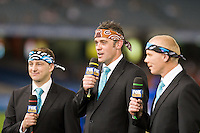 MELBOURNE, AUSTRALIA - OCTOBER 30: Fox network presenters during the round 12 A-League match between the Melbourne Victory and Adelaide United at Etihad Stadium on October 30, 2010 in Melbourne, Australia.  (Photo by Sydney Low / Asterisk Images)