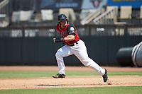 Matt Whatley (19) of the Hickory Crawdads takes off for second base during the game against the Greensboro Grasshoppers at L.P. Frans Stadium on May 26, 2019 in Hickory, North Carolina. The Crawdads defeated the Grasshoppers 10-8. (Brian Westerholt/Four Seam Images)