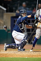 Northwest Arkansas Naturals catcher Luis Villegas (19) asks for an appeal during a game against the Midland RockHounds on May 27, 2017 at Arvest Ballpark in Springdale, Arkansas.  NW Arkansas defeated Midland 3-2.  (Mike Janes/Four Seam Images)
