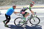 Puncture for Kevin Seeldraeyers (BEL) Torku during Stage 4 of the 2015 Presidential Tour of Turkey running 132km from Fethiye to Marmaris. 29th April 2015.<br /> Photo: Tour of Turkey/Mario Stiehl/www.newsfile.ie