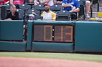 Pitch time clock during a game between the Oklahoma City Dodgers and the Iowa Cubs at Chickasaw Bricktown Ballpark on April 9, 2016 in Oklahoma City, Oklahoma.  Oklahoma City defeated Iowa 12-1 (William Purnell/Four Seam Images)