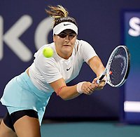 MIAMI GARDENS, FL - MARCH 29: (NO SALES TO NEW YORK POST) Bianca Andreescu of Canada on day 8 of the Miami Open on March 29, 2021 at Hard Rock Stadium in Miami Gardens, Florida<br /> <br /> <br /> People:  Bianca Andreescu