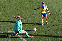 Mackenzie Arnold of West Ham denies Aileen Whelan of Brighton during West Ham United Women vs Brighton & Hove Albion Women, Barclays FA Women's Super League Football at the Chigwell Construction Stadium on 15th November 2020