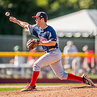 5 September 2016: Lowell Spinners infielder Andy Perez on the mound in the 8th inning against the Vermont Lake Monsters at Centennial Field in Burlington, Vermont. The Monsters defeated the Spinners 9-5 to close out their 2016 NY Penn League season. Mandatory Credit: Ed Wolfstein Photo *** RAW (NEF) Image File Available ***