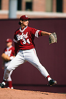 Jason Young of the Stanford Cardinal during a NCAA baseball game against the USC Trojans circa 1999 in Los Angeles, California. (Larry Goren/Four Seam Images)