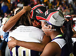 Prairie View A&M Lady Panthers guard Dominique Smith (1), Prairie View A&M Lady Panthers guard Siarra Soliz (10) and Prairie View A&M Lady Panthers guard Lereahn Washington (2) get emotional after winning the SWAC Tournament Championship game between the Prairie View A&M Lady Panthers and the Southern University Jaguars at the Special Events Center in Garland, Texas. Prairie View defeats  Southern 48 to 44