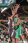 Lehigh Mountain Hawks forward Justin Goldsborough (40) and North Texas Mean Green guard Roger Franklin (32) in action during the game between the Lehigh Mountain Hawks and the North Texas Mean Green at the Super Pit arena in Denton, Texas. Lehigh defeats UNT 90 to 75...