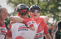 André Greipel (DEU/Lotto-Soudal) wins stage 4 and is congratulated by teammate<br /> <br /> 15th Ovo Energy Tour of Britain 2018 (2.HC)<br /> Stage 4: Nuneaton to Royal Leamington Spa (183km)
