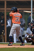 Houston Astros Kristian Trompiz (31) during a minor league spring training game against the Detroit Tigers on March 25, 2015 at Tiger Town in Lakeland, Florida.  (Mike Janes/Four Seam Images)