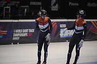 SPEEDSKATING: DORDRECHT: 06-03-2021, ISU World Short Track Speedskating Championships, SF 5000m Relay, Daan Breeuwsma (NED), Jens van 't Wout (NED), ©photo Martin de Jong