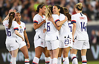 JACKSONVILLE, FL - NOVEMBER 10: Christen Press #23 and the USWNT celebrate a goal during a game between Costa Rica and USWNT at TIAA Bank Field on November 10, 2019 in Jacksonville, Florida.