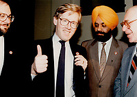 1990 FILE PHOTO - ARCHIVES -<br /> <br /> Monohar Singh Bal with Bob Rae 1990 wearing anti racism Lapel Pins<br /> <br /> 1990<br /> <br /> PHOTO :  Erin Comb - Toronto Star Archives - AQP