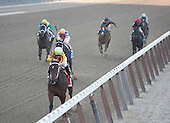 My Miss Aurelia draws off from Stopshoppingmaria in the Frizette Stakes at Belmont Park.
