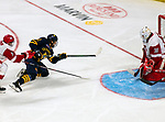 January 26, 2020: Sacred Heart goalie Josh Benson makes one of his 21 saves as the Pioneers upset 17th ranked Quinnipiac 4-1 in the Connecticut Ice Tourney. The inaugural event was held at the Webster Bank Arena in Bridgeport, Connecticut.  Heary/Eclipse Sportswire/CSM