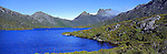 Australia Panorama - Dove Lake at Cradle Mountain in Tasmania, Australia.<br /> <br /> Image taken on large format panoramic 6cm x 17cm transparency. Available for licencing and printing. email us at contact@widescenes.com for pricing.