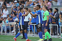SAN JOSE, CA - AUGUST 8: Luciano Abecasis #2 of the San Jose Earthquakes is subbed out for Jeremy Ebobisse #11 during a game between Los Angeles FC and San Jose Earthquakes at PayPal Park on August 8, 2021 in San Jose, California.