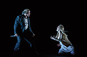 """London, UK. 12.03.2019. Simon McBurney's production of Mozart's """"The Magic Flute"""" returns to English National Opera. Set design by Michael Levine, costume design by Nicky Gillibrand, with revival lighting design by Mike Gunning, and video design by Finn Ross. Picture shows: Daniel Norman (Monostatos), Lucy Crowe (Pamina). Photograph © Jane Hobson."""