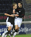 10/01/2009  Copyright Pic: James Stewart.File Name : sct_jspa12_falkirk_v_qots.SCOTT ARFIELD CELEBRATES WITH KEVIN MCBRIDE AFTER HE SCORES FALKIRK'S FIRST.James Stewart Photo Agency 19 Carronlea Drive, Falkirk. FK2 8DN      Vat Reg No. 607 6932 25.Studio      : +44 (0)1324 611191 .Mobile      : +44 (0)7721 416997.E-mail  :  jim@jspa.co.uk.If you require further information then contact Jim Stewart on any of the numbers above.........