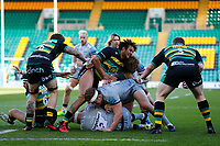 13th March 2021; Franklin's Gardens, Northampton, East Midlands, England; Premiership Rugby Union, Northampton Saints versus Sale Sharks; Willgriff John of Sale Sharks is brought down by the Northampton Saints defence