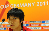 Yun Mi Jo, player of North Korea, during a press conference at the FIFA Women's World Cup at the FIFA Stadium in Dresden, Germany on June 27th, 2011.