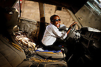 "Blaise pretends to drive an old, broken car. .Blaise Bedzermitki Leveltson is 12 years old. He has seven brothers and one sister. His father is a soldier. He was deeply traumatised by the 2010 earthquake but he is an active and happy boy. Blaise has many dreams. He'd like to become a driver or a mechanic but he also admires Michael Jackson and Ronaldo. ""Well, I dream about so many things. If I really had to choose I would struggle. If I'm being sensible I should be a driver, but I also dream about being like Michael Jackson. It's really hard to choose."" ."