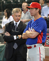 Astros GM Ed Wage visits with Phillies P Jamie Moyer on Thursday May 22nd at Minute Maid Park in Houston, Texas. Photo by Andrew Woolley / Four Seam Images.
