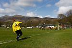 Keswick 1 Kendal 1, 15/04/2017. Fitz Park, Westmoreland League. The Kendal left back takes a corner. Photo by Paul Thompson.