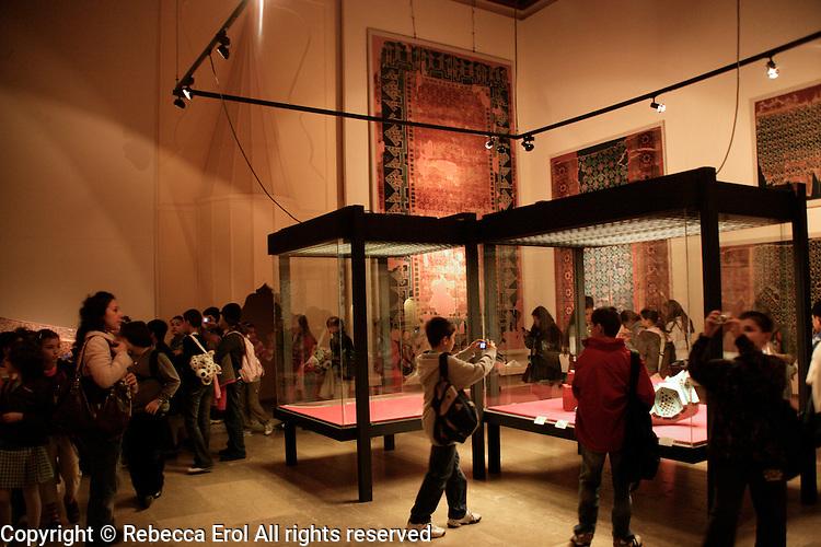 Turkish schoolchildren visiting the Museum for Turkish and Islamic Art in Istanbul, Turkey