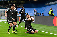 28th September 2021; Estadio Santiago Bernabeu, Madrid, Spain; Men's Champions League, Real Madrid CF versus FC Sheriff Tiraspol; Yakhshiboev, Costanza, Kolovos and Traore celebrate the first goal for Sheriff in the 25th minute