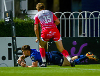 2nd October 2020; RDS Arena, Dublin, Leinster, Ireland; Guinness Pro 14 Rugby, Leinster versus Dragons; Garry Ringrose (Leinster) dives over in the corner to score a try past Will Talbot-Davies