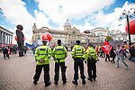 © Joel Goodman - 07973 332324 . 02/10/2016 . Birmingham , UK . TUC demonstration in Victoria Square in front of Birmingham Town Hall , against the Conservative Party during the first day of the Conservative Party Conference at the International Convention Centre in Birmingham . Photo credit : Joel Goodman