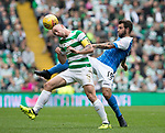 Celtic v St Johnstone …26.08.17… Celtic Park… SPFL<br />Scott Brown nips the ball off Richie Foster<br />Picture by Graeme Hart.<br />Copyright Perthshire Picture Agency<br />Tel: 01738 623350  Mobile: 07990 594431