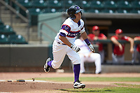 Nick Madrigal (4) of the Winston-Salem Rayados hustles down the first base line against the Potomac Nationals at BB&T Ballpark on August 12, 2018 in Winston-Salem, North Carolina. The Rayados defeated the Nationals 6-3. (Brian Westerholt/Four Seam Images)