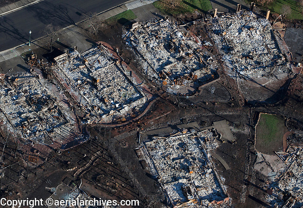 Tubbs Fire, destroyed homes in Sonoma County, California, northern California wildfires, 2017.