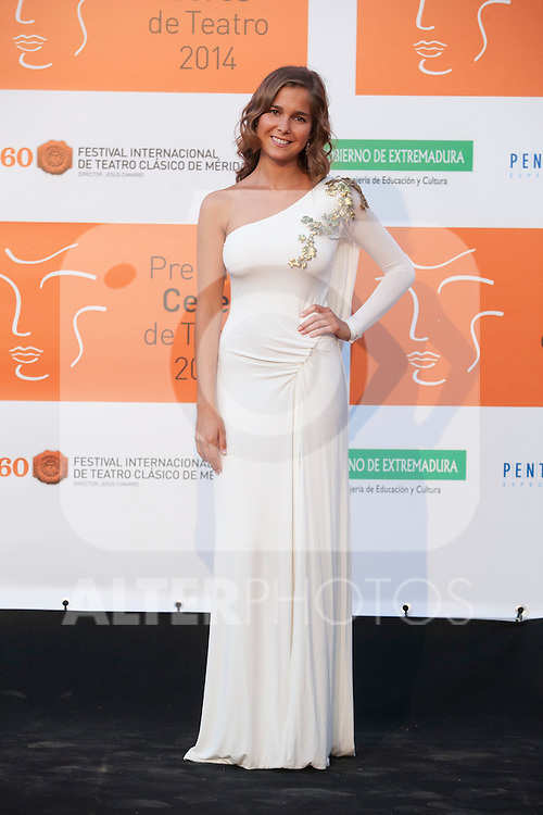 Natalia Sanchez poses for the photographers during 2014 Theater Ceres Awards photocall at Merida, Spain. August 28, 2014. (ALTERPHOTOS/Victor Blanco)