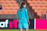 HOUSTON, TX - JANUARY 28: Alyssa Naeher #1 of the United States watches downfield during a game between Haiti and USWNT at BBVA Stadium on January 28, 2020 in Houston, Texas.