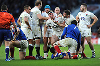 Mark Wilson of England shows concern over his fellow back row team mate Tom Curry of England during the Guinness Six Nations match between England and France at Twickenham Stadium on Sunday 10th February 2019 (Photo by Rob Munro/Stewart Communications)