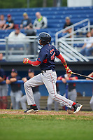 Lowell Spinners right fielder Yoan Aybar (22) at bat during a game against the Batavia Muckdogs on July 12, 2017 at Dwyer Stadium in Batavia, New York.  Batavia defeated Lowell 7-2.  (Mike Janes/Four Seam Images)