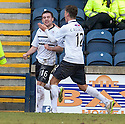 Raith Rovers' Lewis Vaughan(16) is congratulated by Ross Callachan (12) after he scores their second goal.
