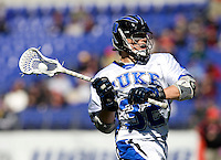 Sam Payton (32) of Duke looks for a pass during the Face-Off Classic in at M&T Stadium in Baltimore, MD