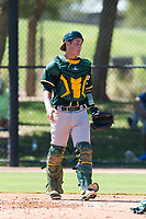 Oakland Athletics catcher Cesare Astorri (12) during an Instructional League game against the Los Angeles Dodgers at Camelback Ranch on September 27, 2018 in Glendale, Arizona. (Zachary Lucy/Four Seam Images)