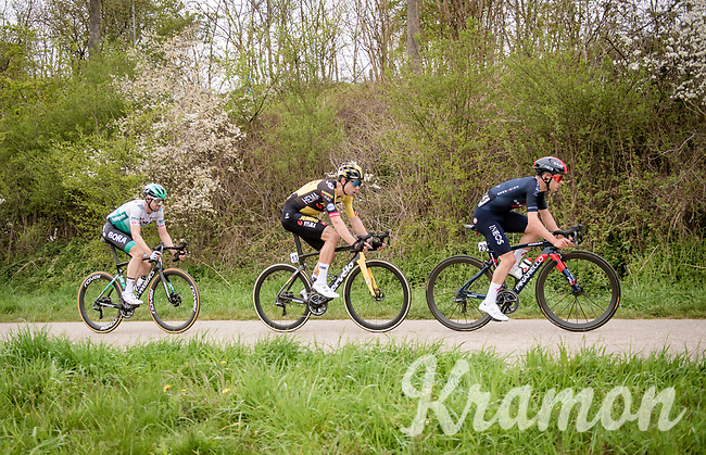 the leading trio with 3km to go: Tom Pidcock (GBR/Ineos Grenadiers), Wout van Aert (BEL/Jumbo-Visma) & Maximilian Schachmann (DEU/BORA - hansgrohe)<br /> <br /> 55th Amstel Gold Race 2021 (1.UWT)<br /> 1 day race from Valkenburg to Berg en Terblijt; raced on closed circuit (NED/217km)<br /> <br /> ©kramon