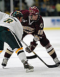 """19 January 2007: Boston College forward Brian Boyle from Hingham, MA, prepares for a faceoff during a Hockey East matchup against the University of Vermont at Gutterson Fieldhouse in Burlington, Vermont. The UVM Catamounts defeated the BC Eagles 3-2 before a record setting 50th consecutive sellout at """"the Gut""""...Mandatory Photo Credit: Ed Wolfstein Photo."""