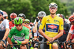 Green Jersey Mark Cavendish (GBR) Deceuinck-Quick Step and Yellow Jersey Mathieu Van Der Poel (NED) Alpecin-Fenix line up for the start of Stage 8 of the 2021 Tour de France, running 150.8km from Oyonnax to Le Grand-Bornand, France. 3rd July 2021.  <br /> Picture: A.S.O./Charly Lopez | Cyclefile<br /> <br /> All photos usage must carry mandatory copyright credit (© Cyclefile | A.S.O./Charly Lopez)