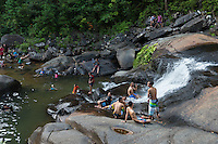 People in the pool of Seven Wells waterfalls, Langkawi, Malaysia